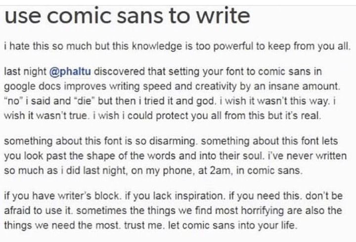 THE SWEET ESCAPE ━ SPAM  ¹ - comic sans helps you write and thats