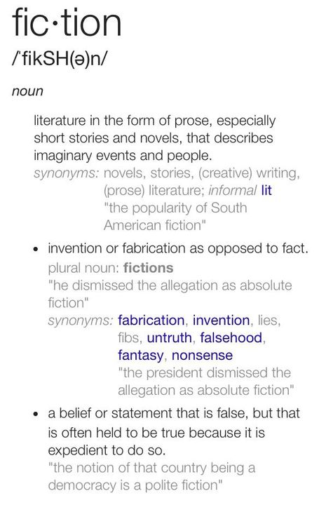 I believe you all know what 'fiction' means but if you don't I'll give you a definition;