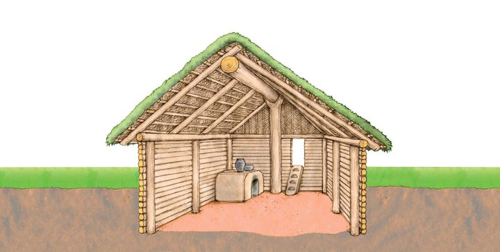 Jeden i drugi model zabudowy był kryty strzechą