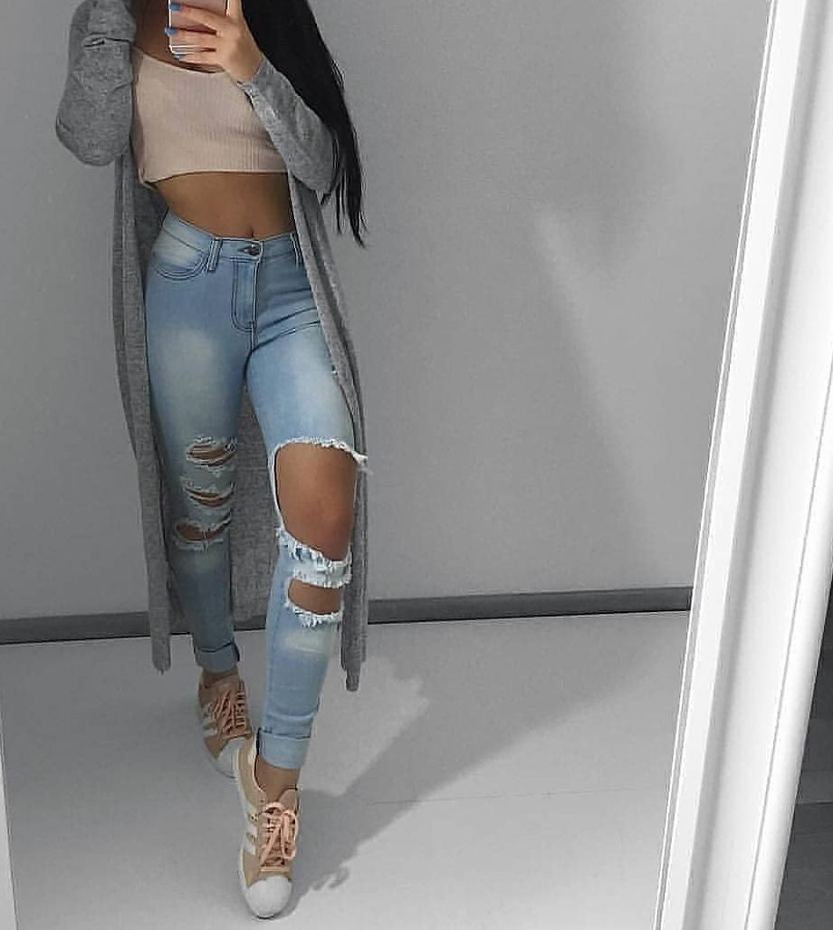 I changed into ripped blue jeans, a rose gold spaghetti strapped cropped top, rose gold Adidas, and a long gray cardigan