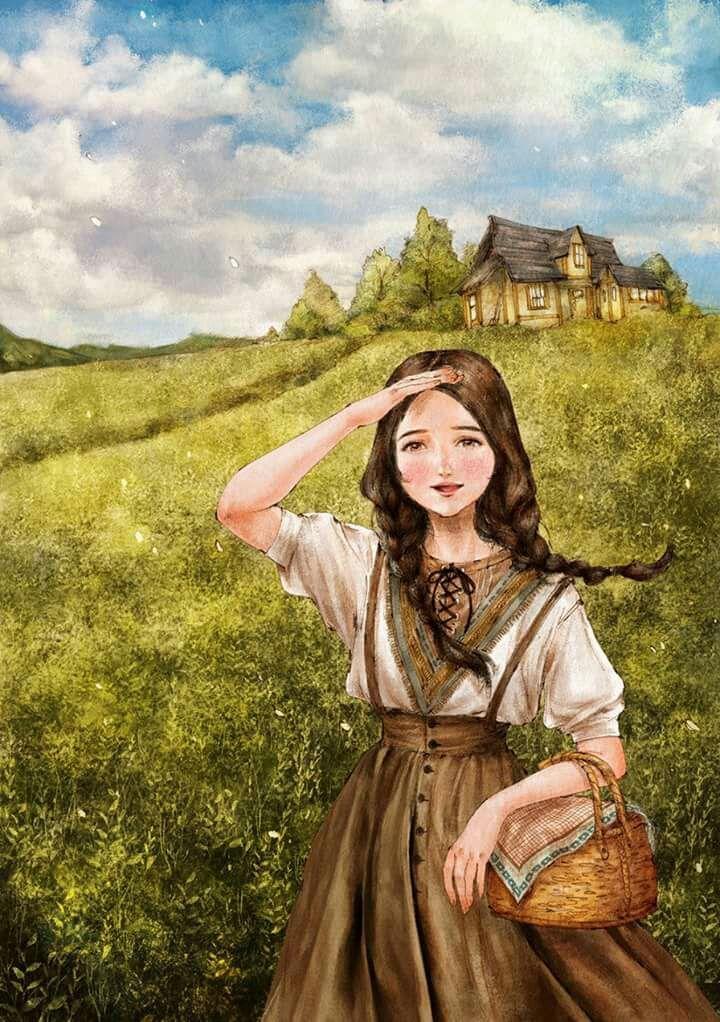 Chợt cô dừng mắt tại một bức tranh có vẽ một cô gái thôn quê có nụ cười thật tươi nhưng nét buồn nơi đáy mắt lại ẩn đi rất kĩ đằng sau là một cánh đồng bát ngát như đang làm rạng rỡ thêm vẻ tươi tắn của cô gái ấy