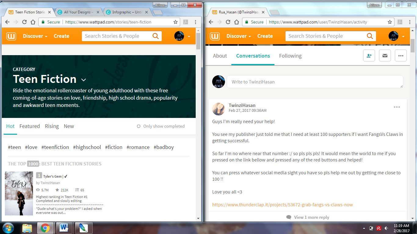 -Open two separate browser windows (not two tabs, but two windows), both with your Wattpad account open