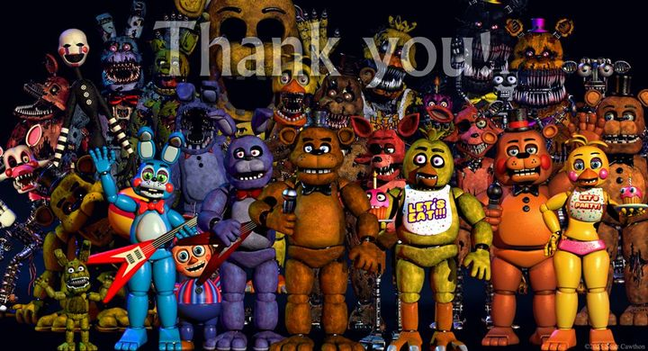 """We reached 100 pages!!!"" Luna yells and all the animatronics and people rush out"