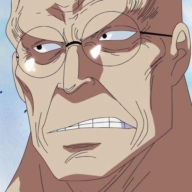 Seorang lelaki tua mengenakan jubah putih, kakinya di atas rakit, mengenakan kacamata, dan memegang pisau yang mirip dengan Zoro di tangannya berkata