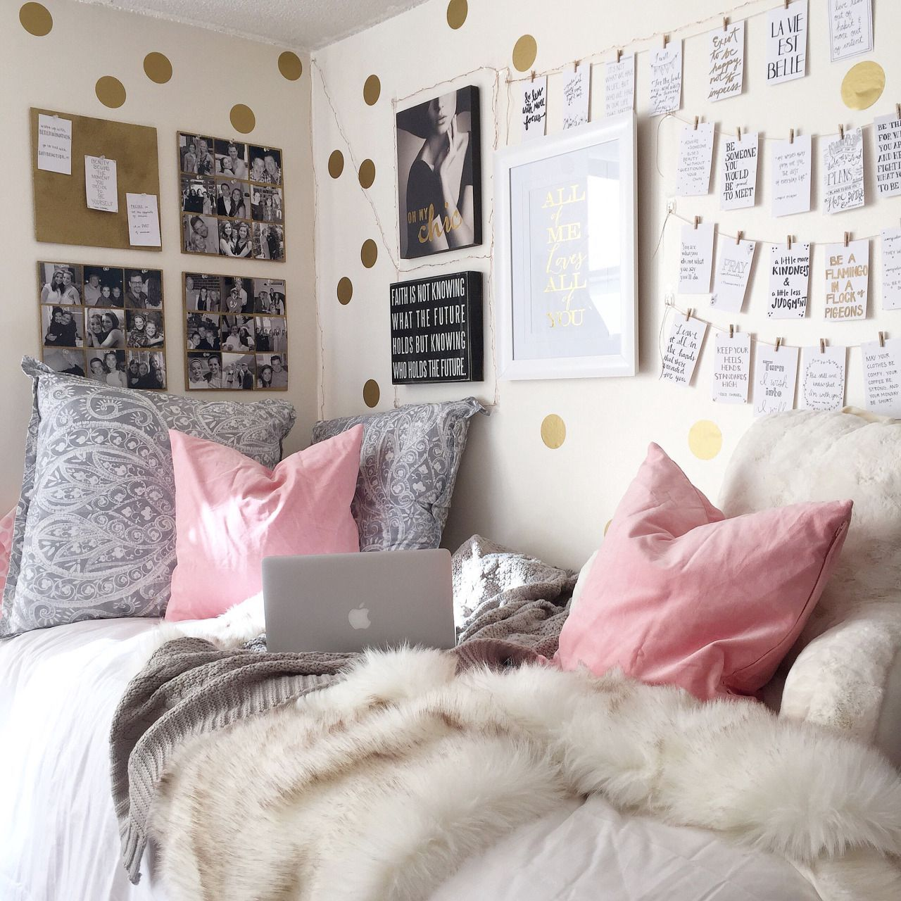 cute decorative pillows and fluffy blanket