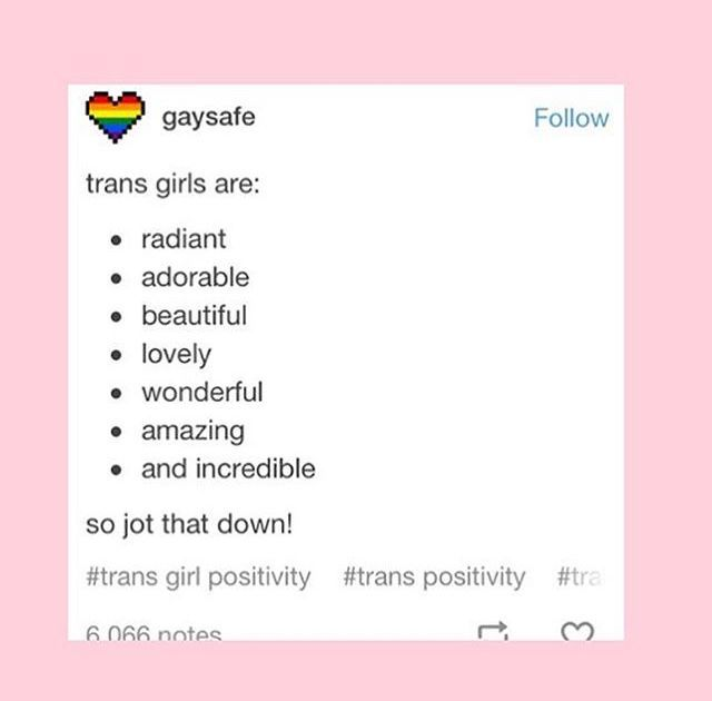 This is nice^ shoutout to tomboyish/masc trans girls! Ur amazing and valid! Also hmu I wanna be friends :)