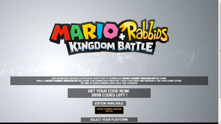 Mario Rabbids Kingdom Battle Switch Code Download Only for Limited