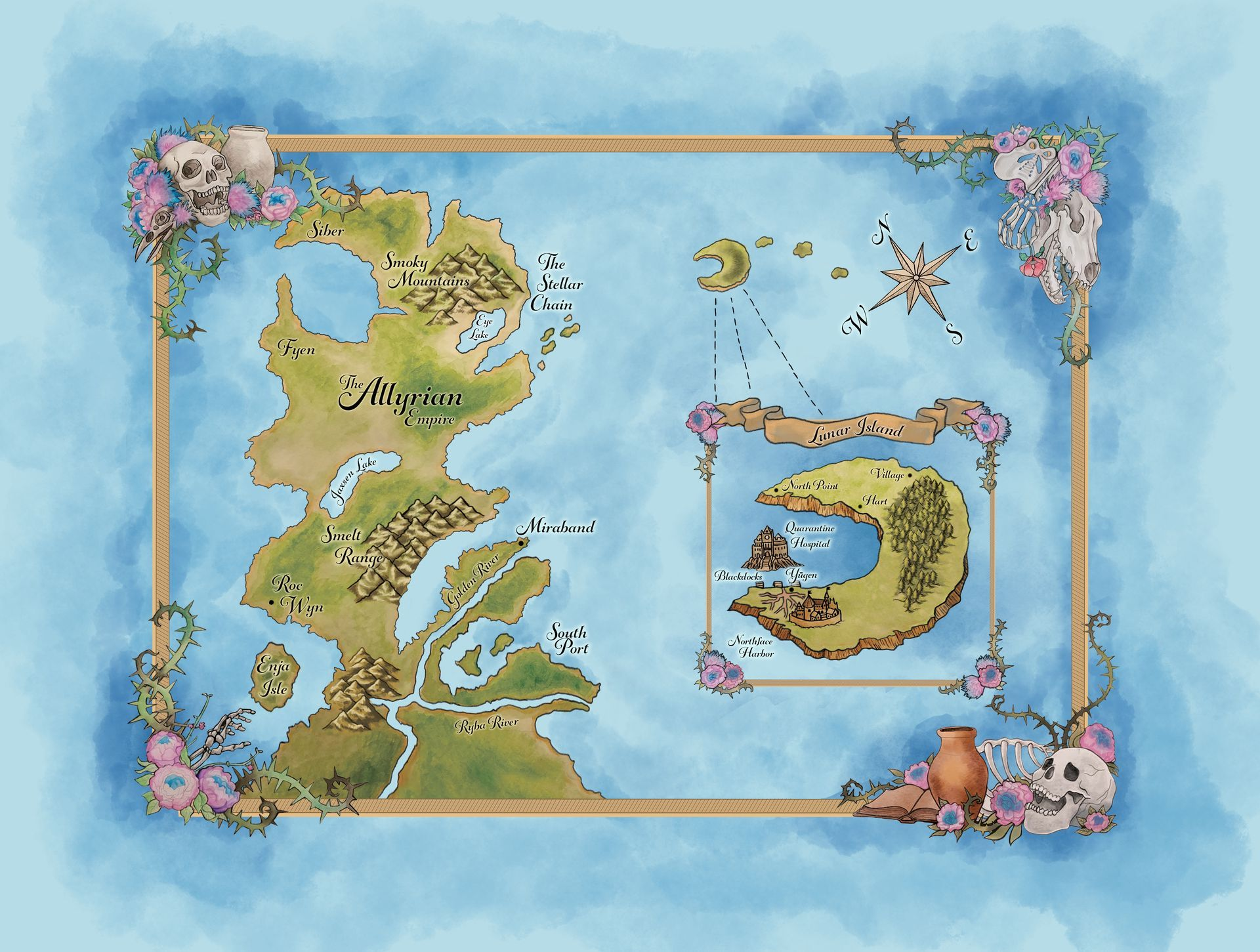 And boy did Cat ever deliver! Isn't this map just dreamy?! I'm so partial to the corner skulls that fit the book so well, but I also love the way the river winds through the mainland, and the 3-D like effects of the quarantine hospital and castle ...