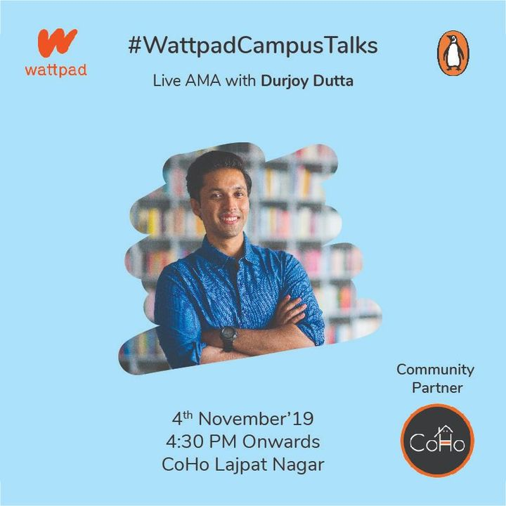 Join us for a live AMA with Durjoy Datta on Nov 4 from, 4:00PM onwards at Coho, L-9, Lajpat Nagar 3, New Delhi, where he will talk about his book and motivation behind his writing *Limited seats!*  *Only for DELHI/ NCR residents