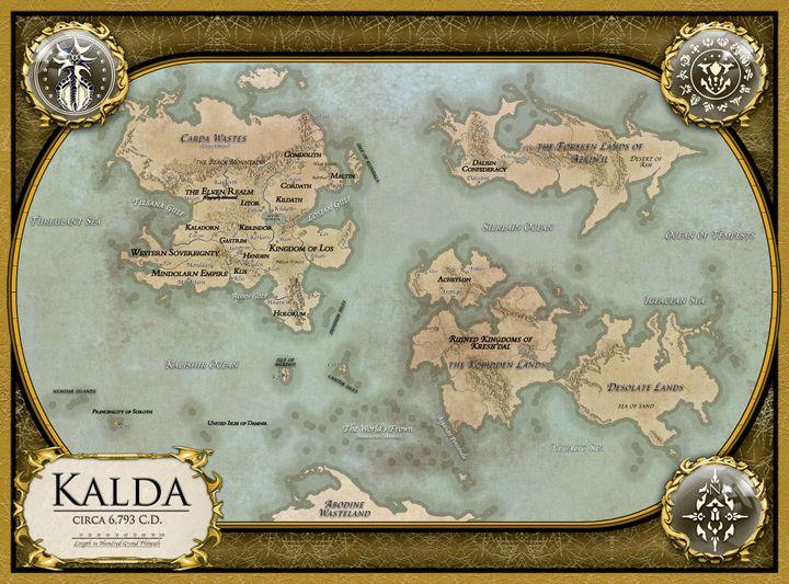 Map of the world of Kalda, circa 6,793 C