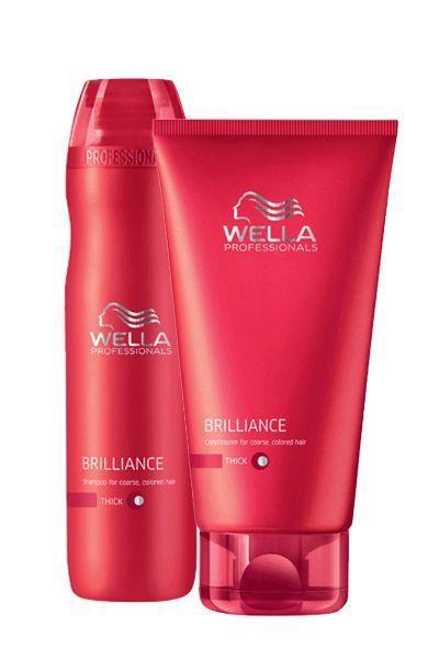 J'utilise le shampoing et revitalisant Wella Brillance pour cheveux épais :