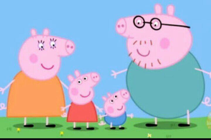 """E nesta imagem se você reparar bem orabo da familia pig tem a forma do número """" 6 """" e  Peppa e George sempre ficam ao lado de mamãe Pig enquanto papai pig sempre fica separado e se você reparar bem os três um do lado do outro formam o número """"666""""..."""