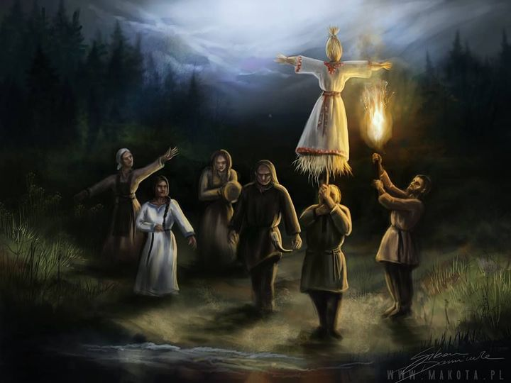 Małe dzieci wraz z wielką słomianą kukłą bogini zimy wrzucały do wody podpalone gałązki bukszpanu i świerku lub jałowca