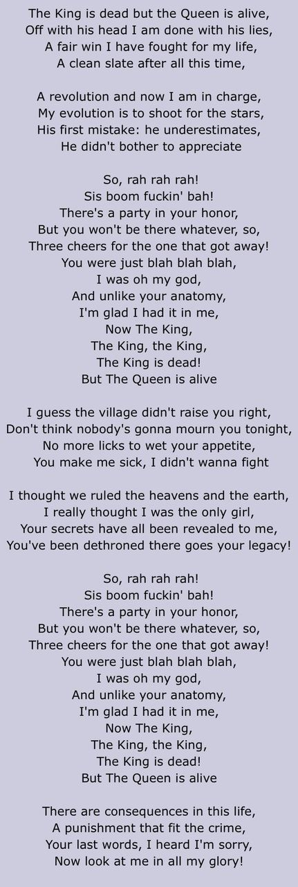 Song Lyrics (My Fave Songs) - The King Is Dead, But The Queen Is ...
