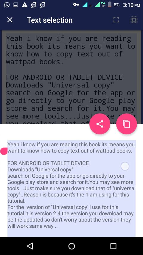 How to copy contents from wattpad Books  - ON ANDROID - Wattpad