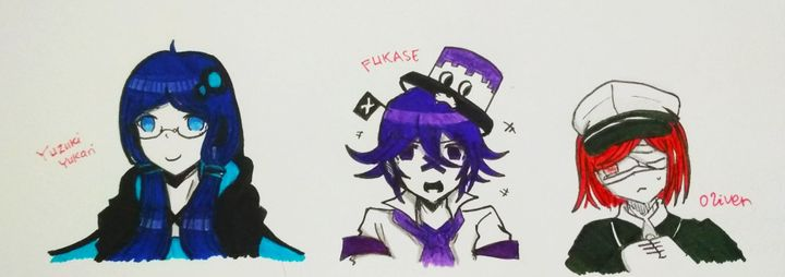 Ouma, Shirogane and Yumeno [I forgot to draw angie whoops-] as Vocaloids