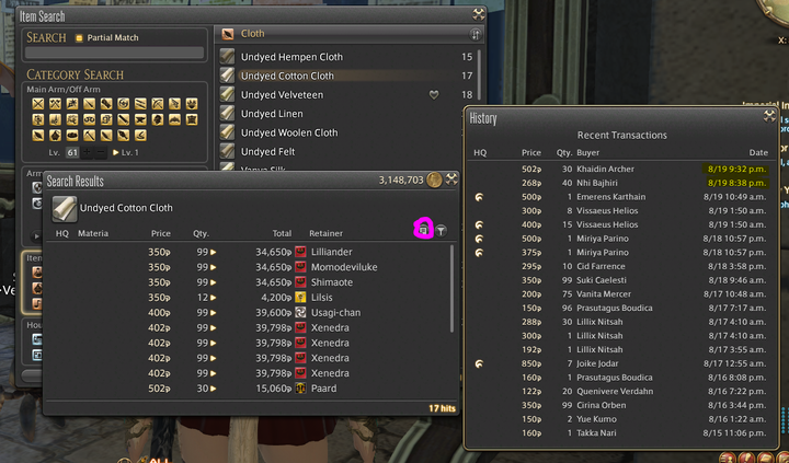 Due to the market board constantly changing you want to adjust prices constantly and never go to cheap with selling items, go one Gil lower than the one before or the same price