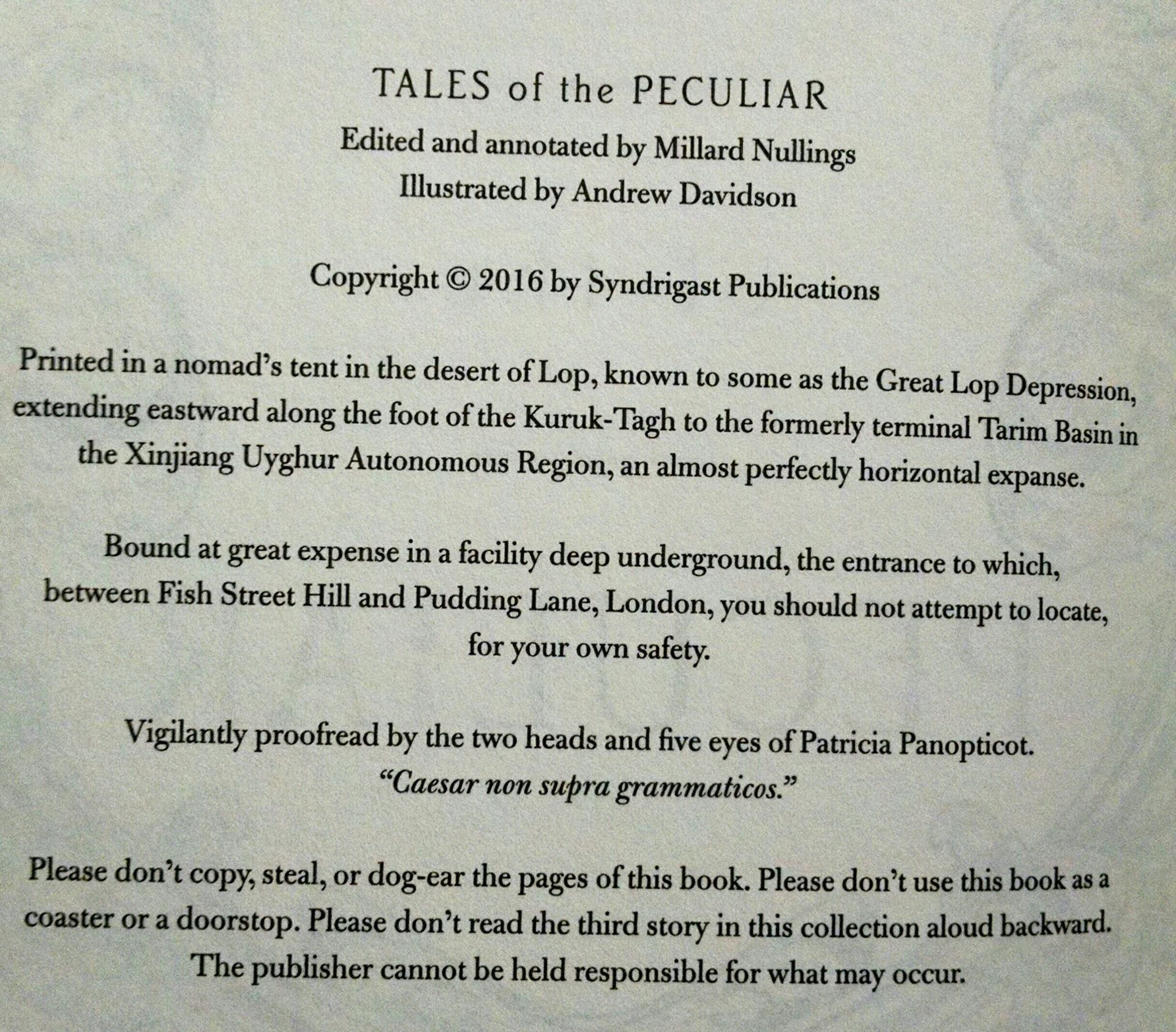 Image result for tales of the peculiars copyright page