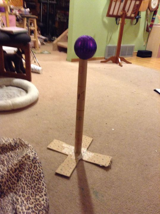I built a ball drop out of cardboard and a Christmas ornament