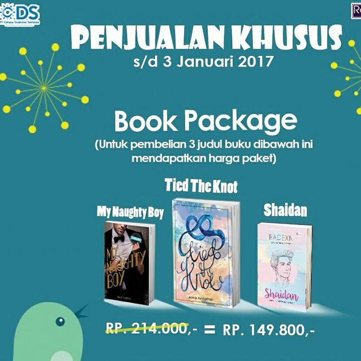 Kamu bisa pilih beli 1 buku harga diskon + free totebag keren (terbatas untuk 15 pembeli pertama) ataaaau beli 1 paket isi 3 buku dengan harga spesial!