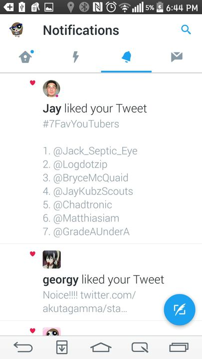 As you can see, three out of the seven people on my list liked my tweet