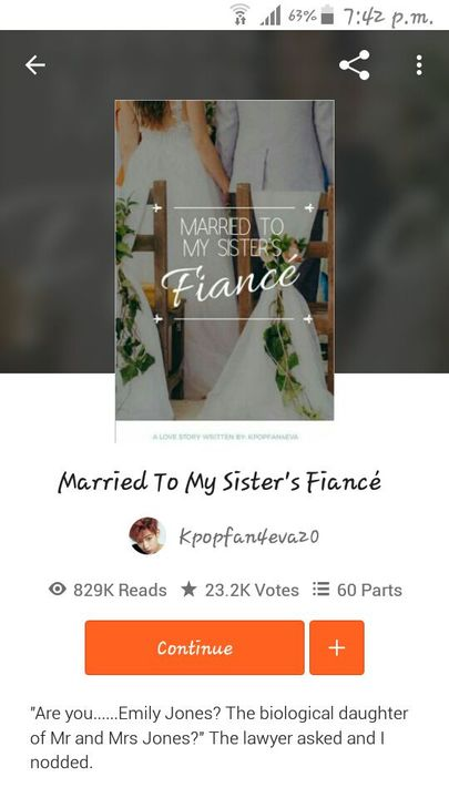 """Well, this book is """"Married to my sister's fiancé"""" written beautifully by @Kpopfan4eva20"""