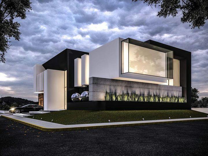 Mobil sedan mewah berwarna hitam dengan beberapa rombongan mobil di belakangnya terparkir rapi di halaman rumah mewah bernuansa minimalis