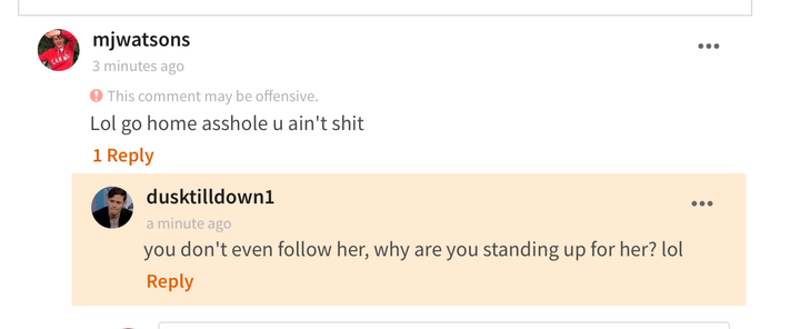 This second commenter has been harassing another user, and we've reported them