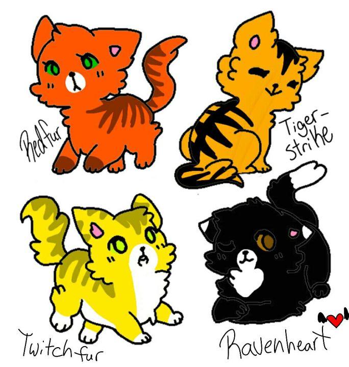 Redfur, Tigerstrike, Twitchfur, and Ravenheart