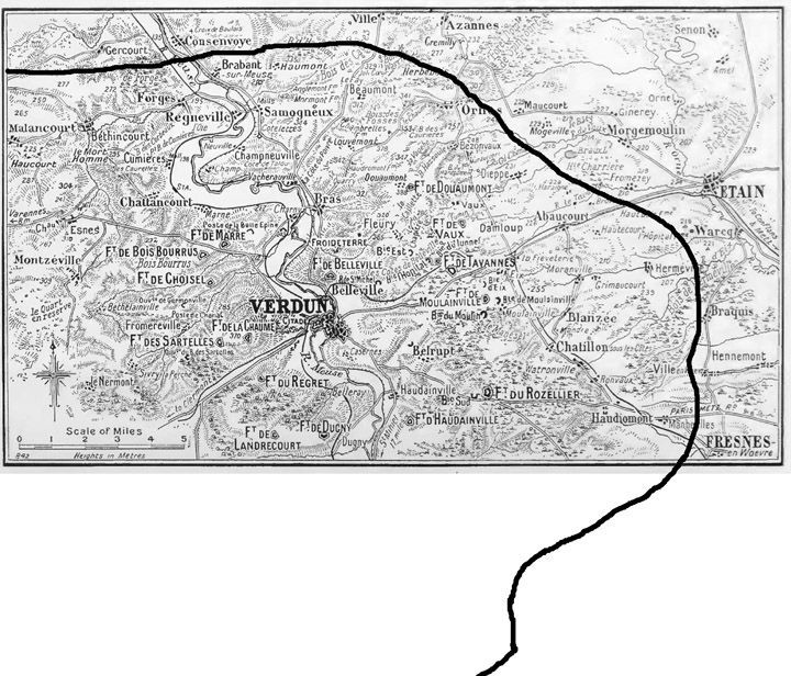 """""""I copied the position of the Front from Pageot's map this morning, but without the sheet to the south of Verdun, I drew the line on a blank page to show the extent of the salient"""