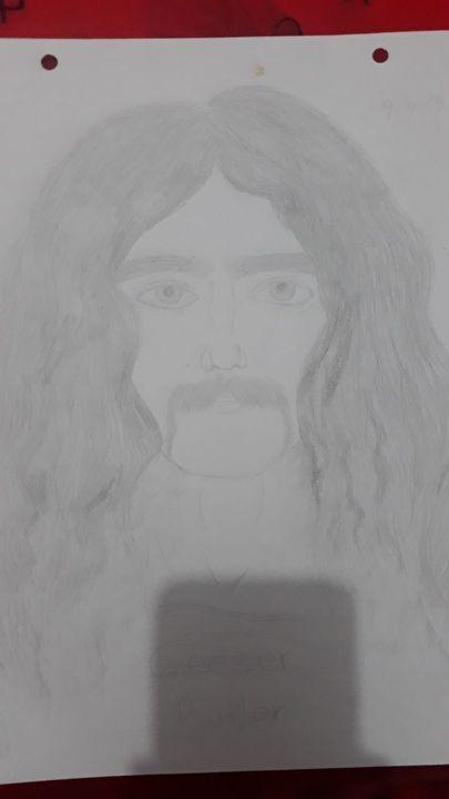 Mientras le dibujaba la cara parecía Lemmy :vDespués para el pelo parecía Cliff :'0Y al final resultó siendo Geezer,como quería xd
