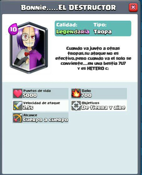 Cartas Clash Royale Inventadas Por Mi 1 Bonnie El