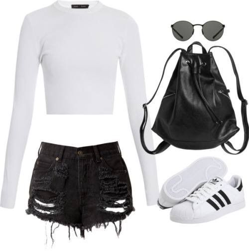 Reluctantly getting out of bed I throw on a white cropped long sleeved shirt, with some black ripped jean shorts, along with my adidas