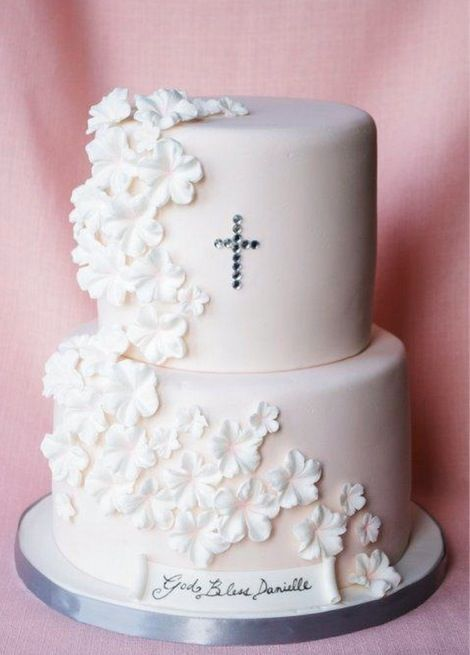 """It was a plain pastel pale pink with white flowers and 'Elle's Christening 16•06•16' in white fondant scroll while Alina's was in opposite colours and the same scroll """"This is amazing"""