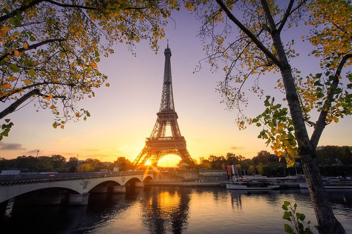 """""""They say at sunrise when the sun peaks through the Eiffel Tower"""