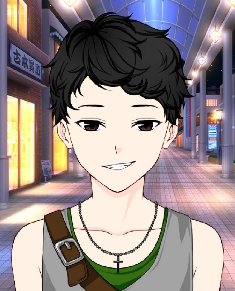 Black hair, brown eyes, spear