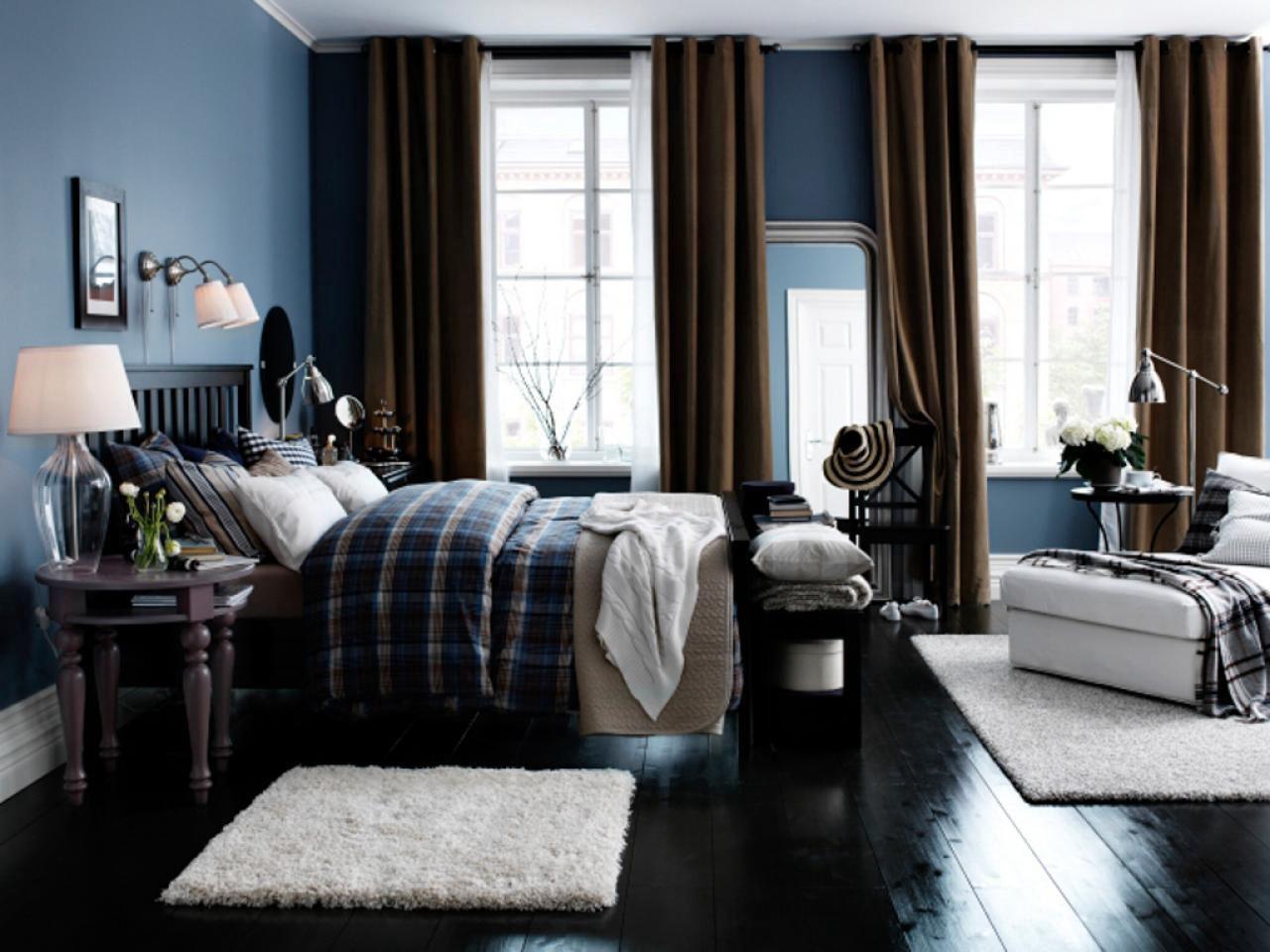 Deep dark blue bedroom