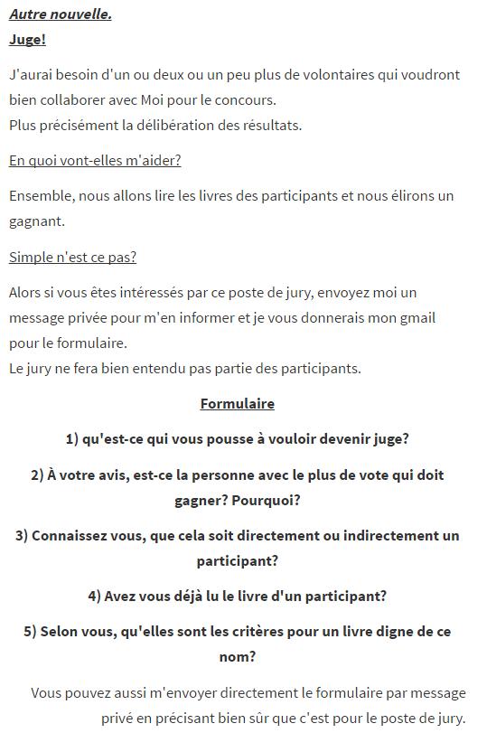 Vous trouverez toutes les informations nécessaires sur en quoi consiste le poste de Juge et comment poser votre candidature dans l'image ci-dessous