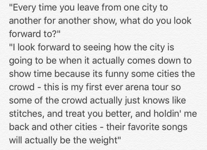 Shawn explains what he looks forward to going from city to city for shows: