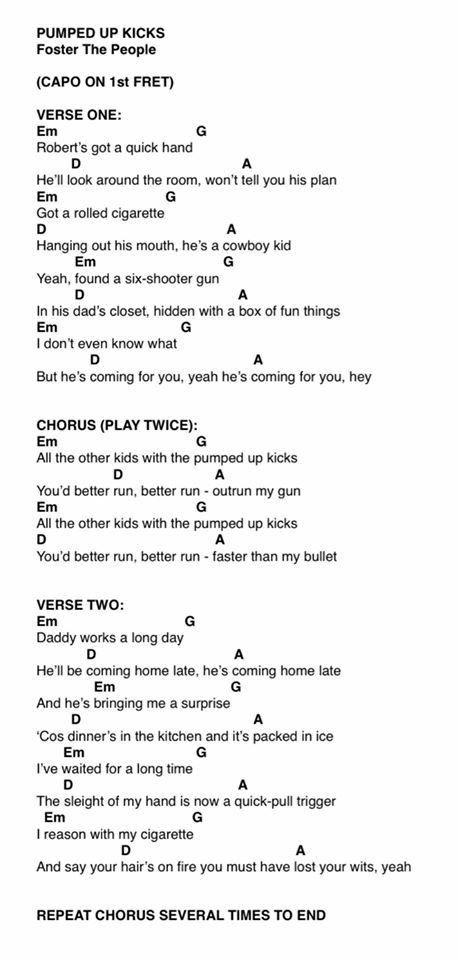 Ukulele Akordy A Texty Chords And Lyrics Pumped Up Kicks Wattpad