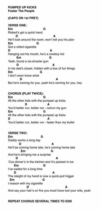 Chords & Lyrics (Ukulele, Piano, guitar, Whatever 🖤) - pumped up ...