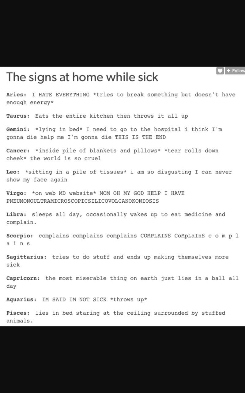 Zodiac - the signs at home while being sick - Wattpad