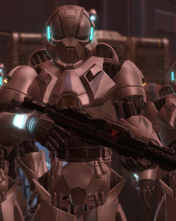 Anakin and Ahsoka walk by several cells and some new type of Droids walk behind them as they pass
