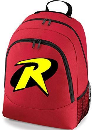 Robin the hold out his hand to reveal a red backpack with his symbol on it