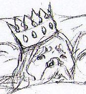 Le roi, étonné de la douce lumière créee par la statuette se frotta les yeux et fut instantanément guéri