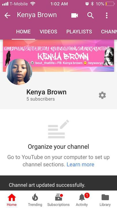 Youtube Channel Sections