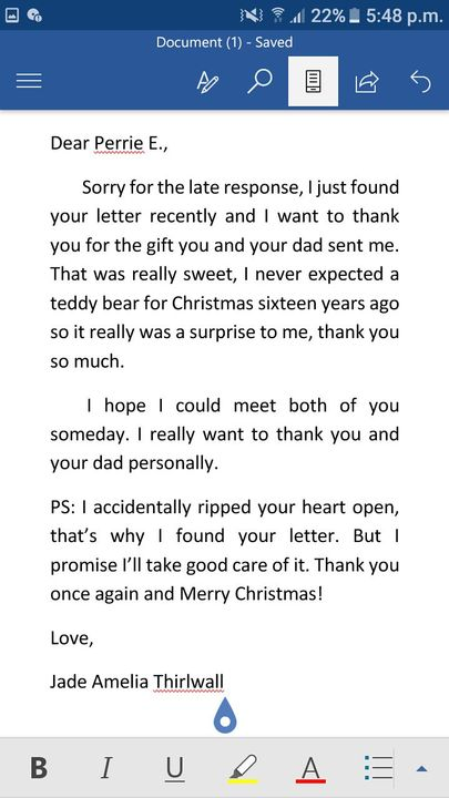 A Letter to Santa (Jerrie Thirlwards Christmas Short Story