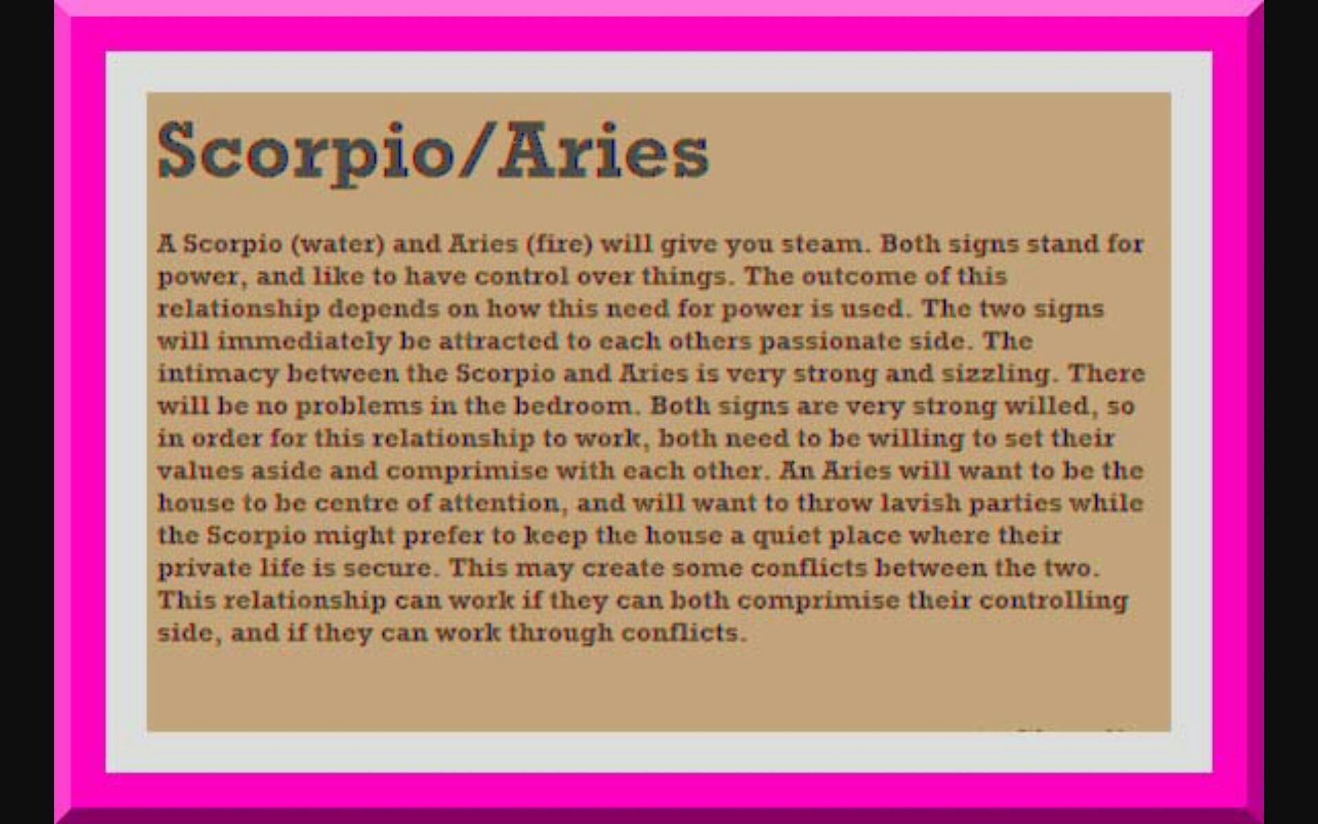 Scorpio and aries match making