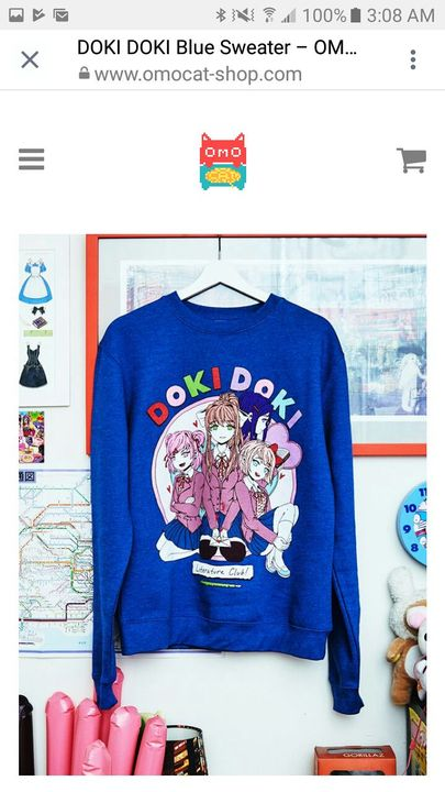 Me: also if you want the same sweater I have you can go to omocat on Instagram and scroll threw their website and see the sweater I got I'll put a picture to show you what the sweater looks like