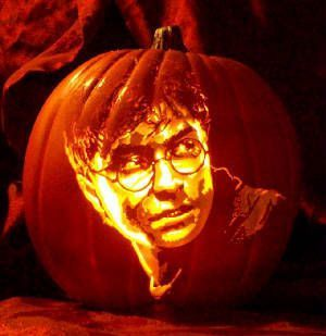 A giant pumpkin burst forth with the face of none other than Harry Potter